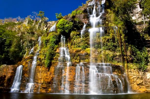 Cerrado Waterfall Waterfall near Chapada dos Veadeiros reserve in west-central Brazil goias stock pictures, royalty-free photos & images
