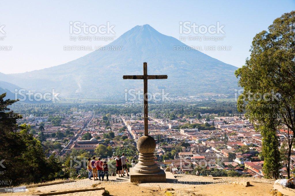 Cerro de La Cruz - Hill of the Cross in Antigua, Guatemala stock photo