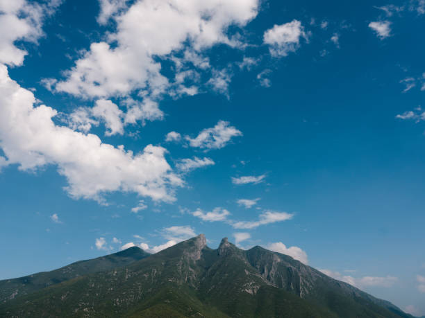 Cerro de la Silla mountain in Monterrey Mexico stock photo