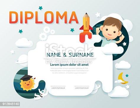 istock Certificate kids , kindergarten template layout space design vector. 912845140