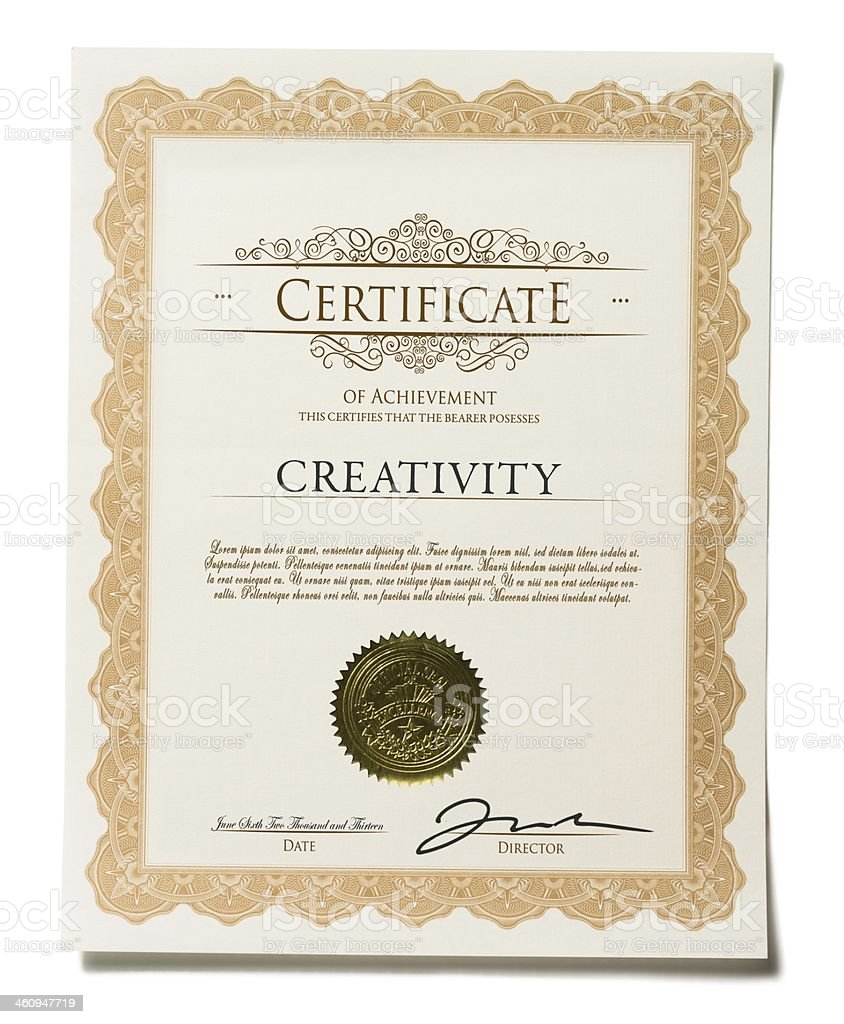 Certificate of Achievement Isolated on White Background stock photo