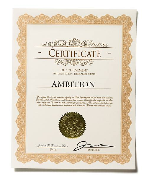 certificate of achievement isolated on white background - certificate stock photos and pictures