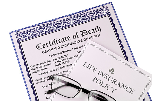 Certificate Of Death And Life Insurance Policy Glasses ...