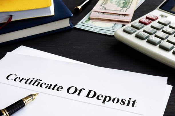 certificate of deposit and pen in the office. - bank deposit slip stock pictures, royalty-free photos & images