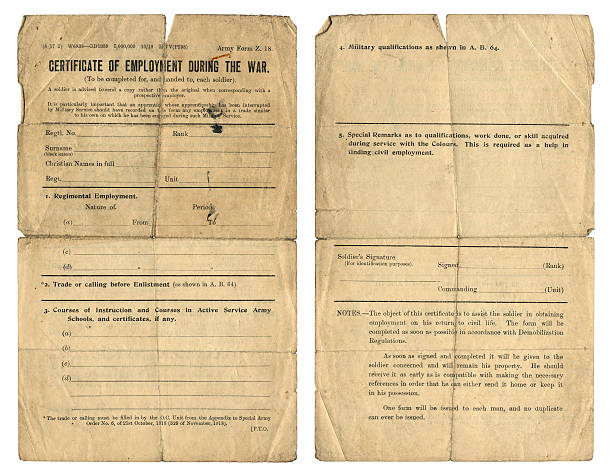 Certificate of Employment during World War One A dirty and well-used 'Certificate of Employment During the War' which was issued to British army personnel to prove that they were employed within the Forces and to give details of their character and qualifications as well as any instruction courses they might have done which would be useful to a future employer once the serviceman returned to 'civvy street'. 1910 1919 stock pictures, royalty-free photos & images