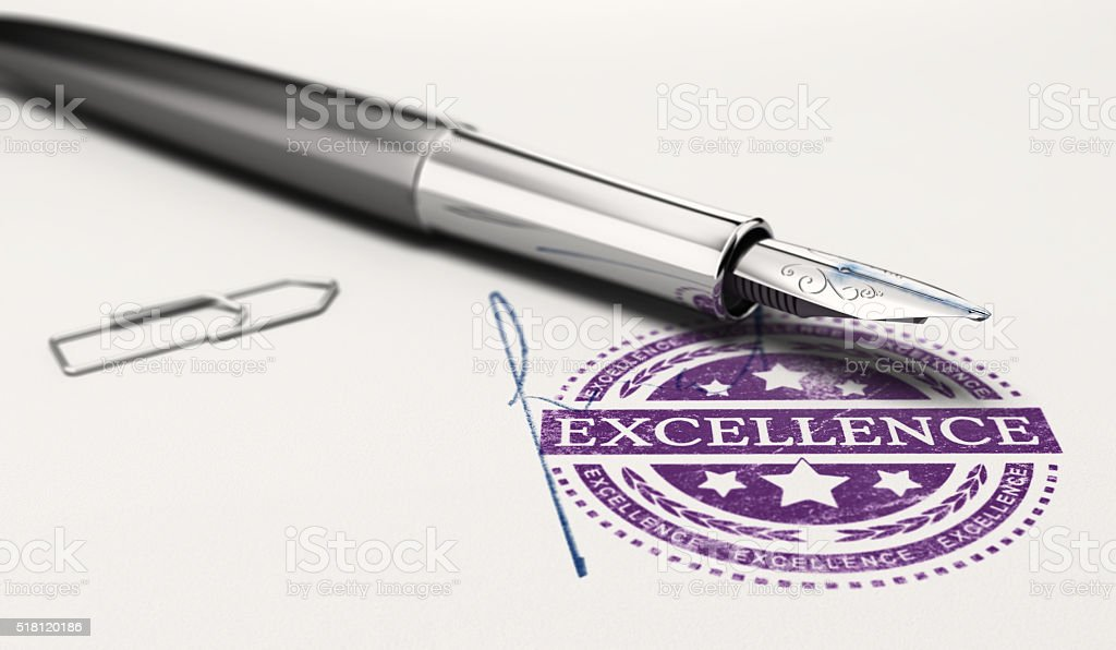 Certificate of Excellence stock photo