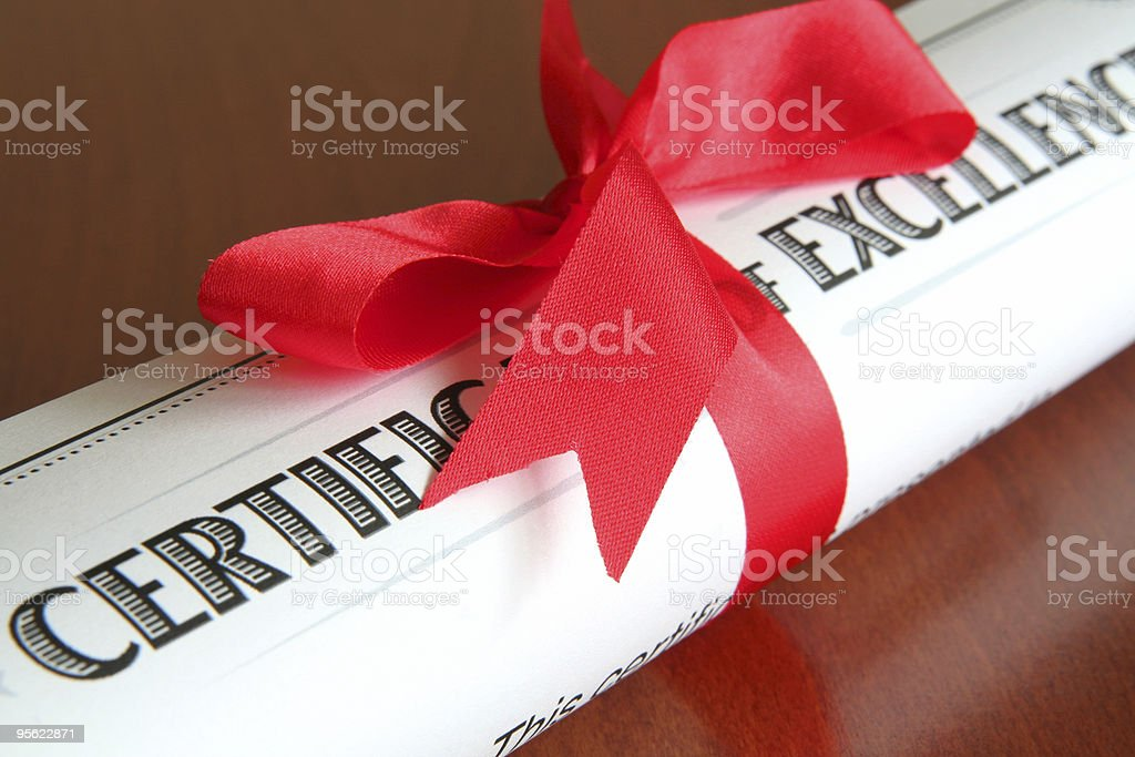 certificate of excellence royalty-free stock photo