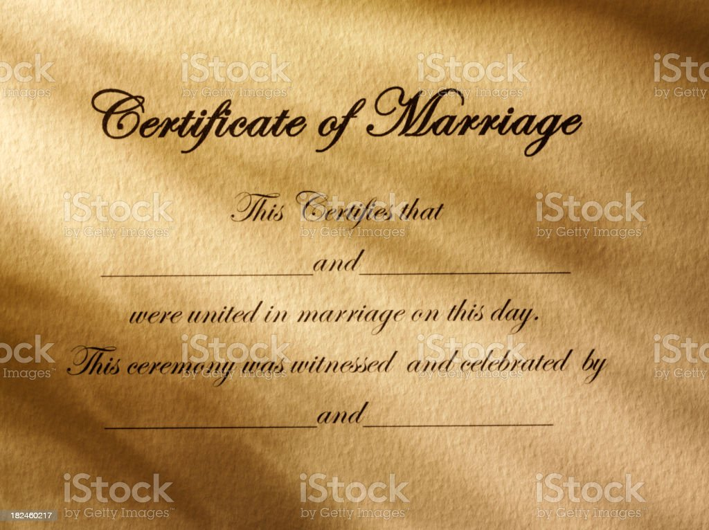 Certificate of Marriage royalty-free stock photo