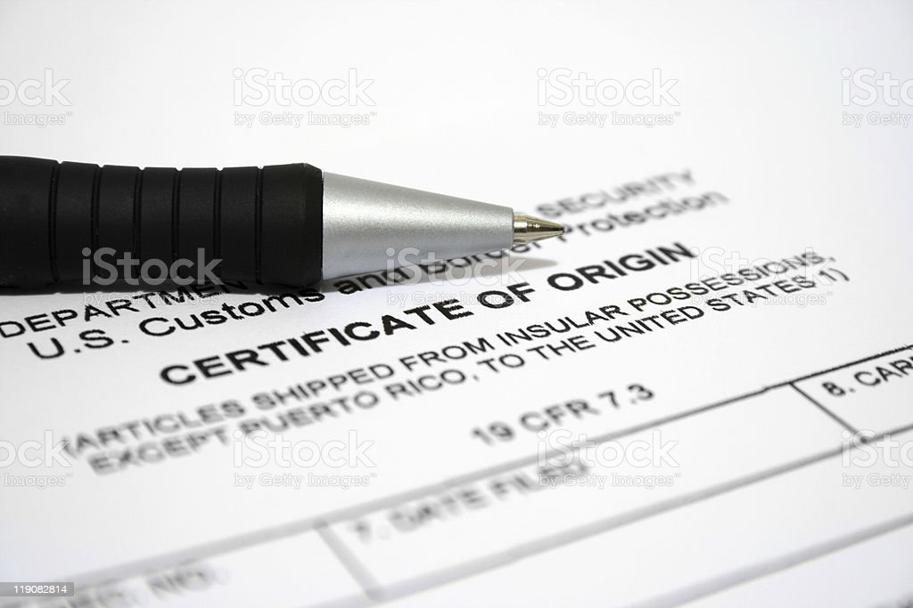 Certificate of origin royalty-free stock photo