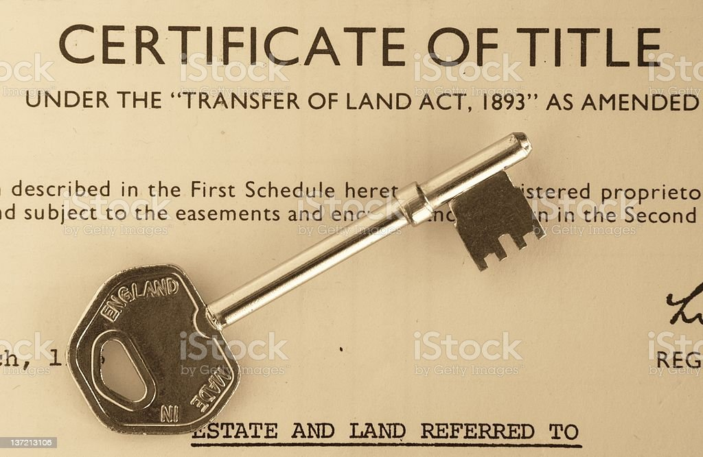 Certificate of Title stock photo