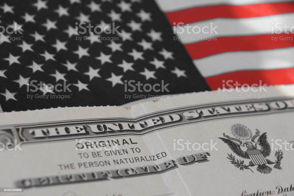 Certificate of US Citizenship stock photo