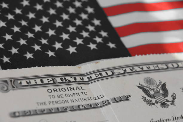 certificate of us citizenship - citizenship stock photos and pictures