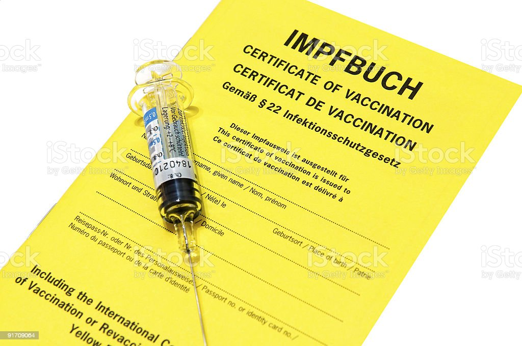 Certificate of vaccination with Influenza injection isolated on white stock photo