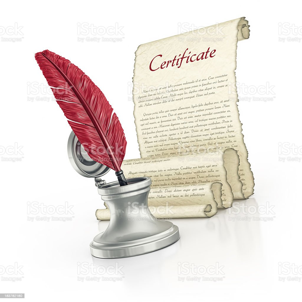 certificate parchment and quill pen royalty-free stock photo