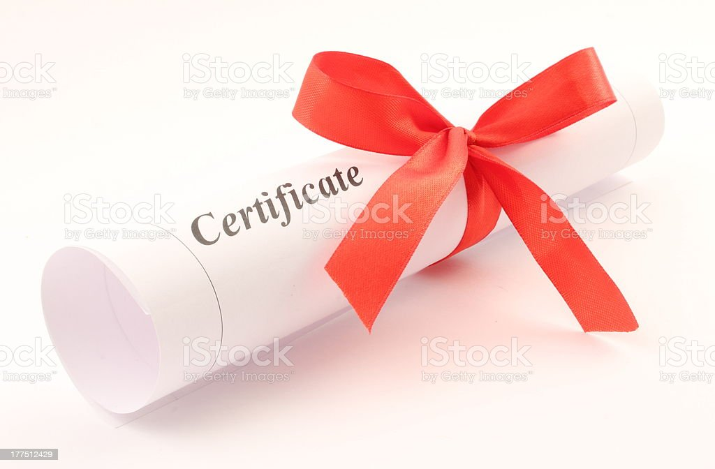 certificate rolled with bow royalty-free stock photo