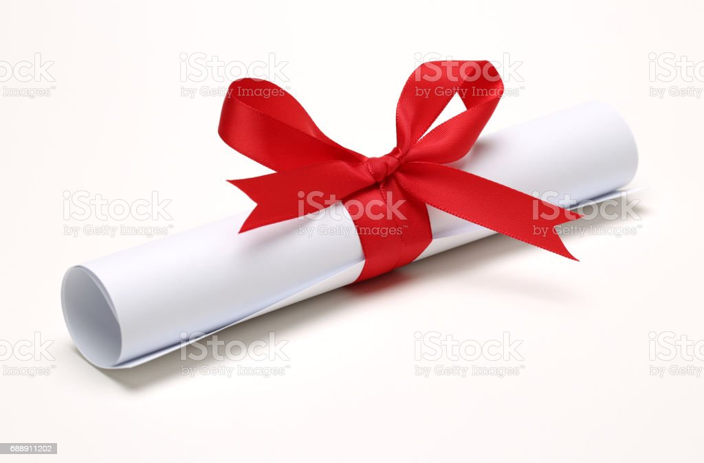 Certificate Scroll  on white background stock photo