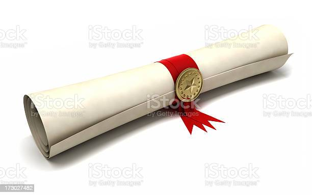 Certificate Scroll Stock Photo - Download Image Now