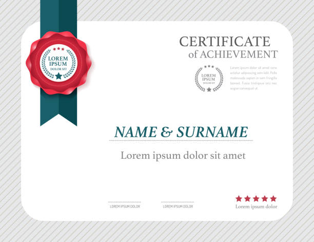 certificate template layout  frame design vector. - certificate stock photos and pictures