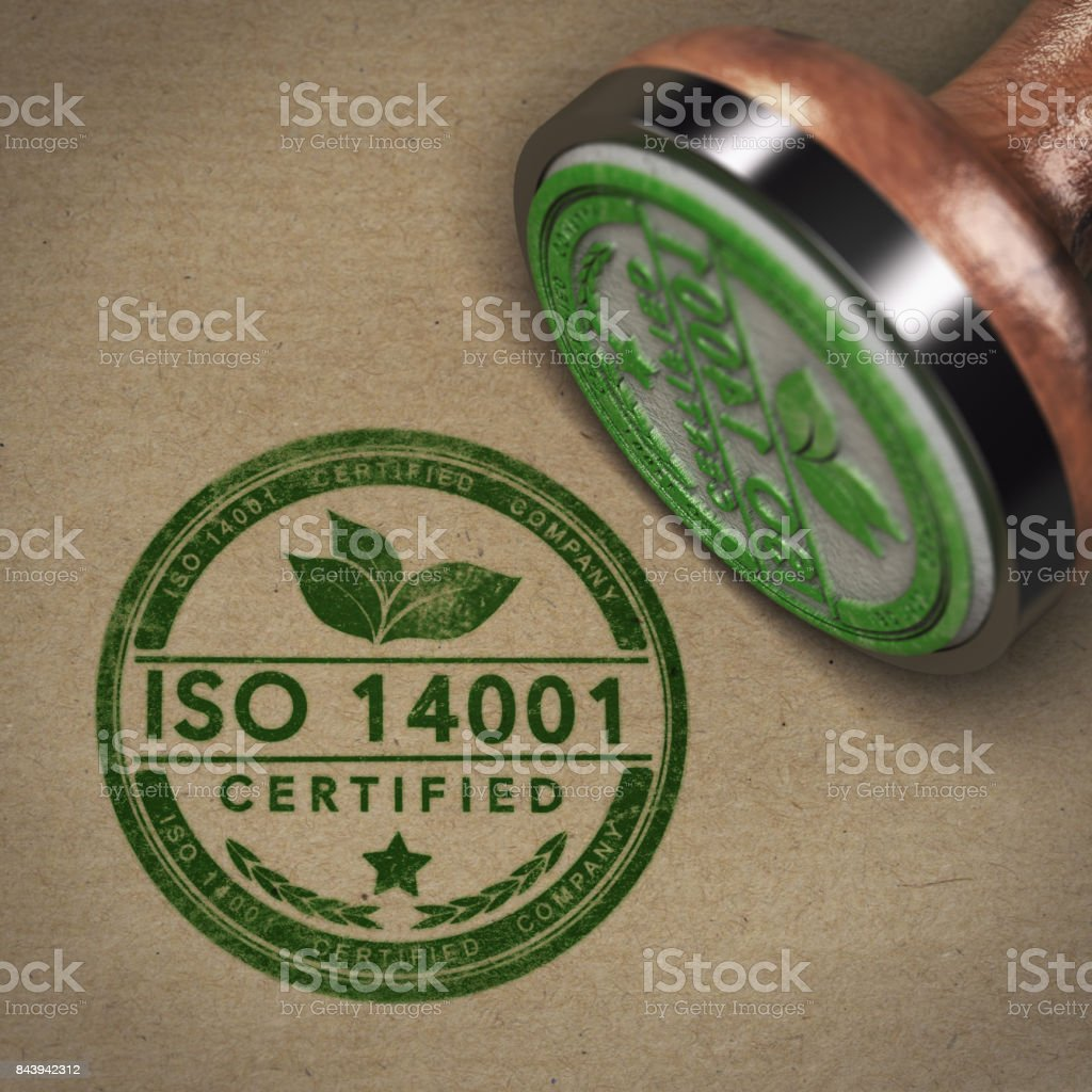ISO 14001 Certified Company Label stock photo