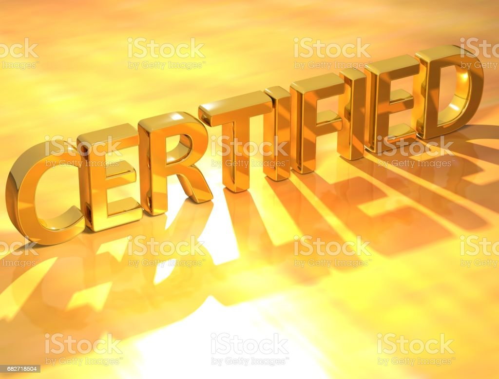 Certified Gold Text 3D Certified Gold Text  on yellow background Agreement Stock Photo