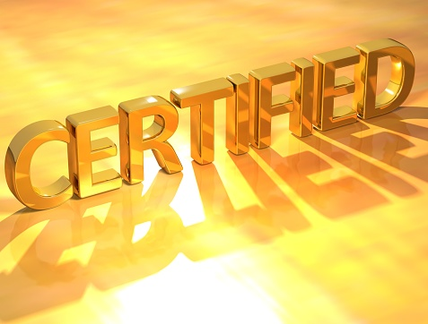 Certified Gold Text Stock Photo - Download Image Now