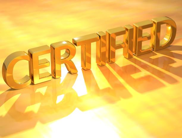 Certified Gold Text 3D Certified Gold Text  on yellow background approbatory stock pictures, royalty-free photos & images
