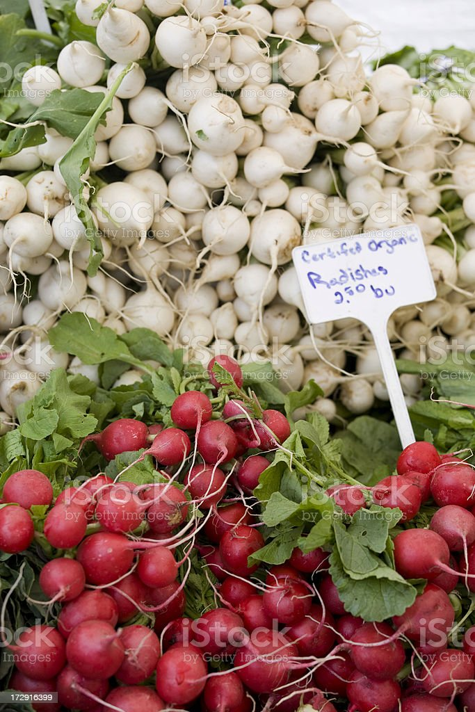 Certified organic radishes at a farmers market royalty-free stock photo