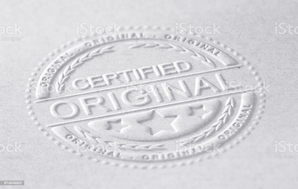 Certified Original stock photo