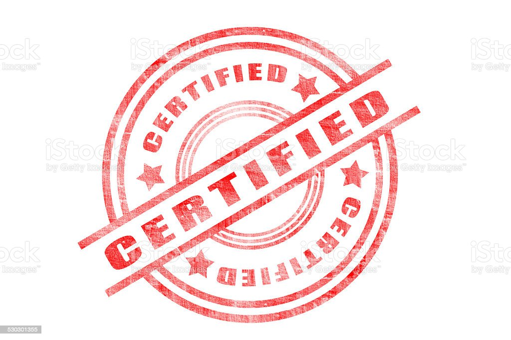 Certified (Click for more) stock photo