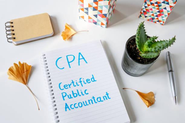 cpa certified public accountant in notizbuch geschrieben - männer zitate stock-fotos und bilder