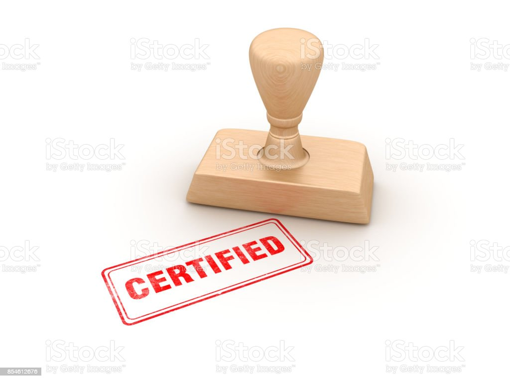 Certified Rubber Stamp - 3D Rendering - foto stock