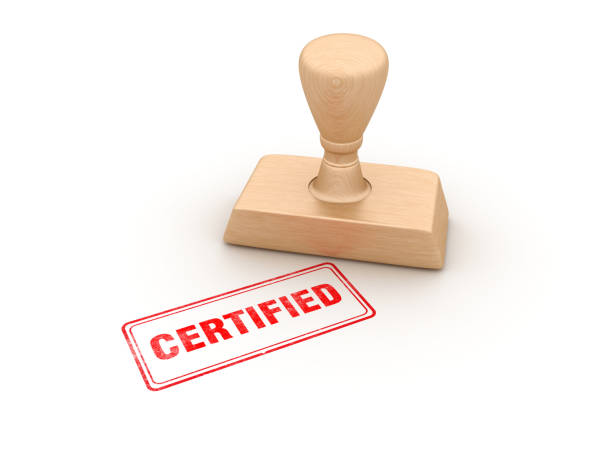 certified rubber stamp - 3d rendering - certificate stock pictures, royalty-free photos & images