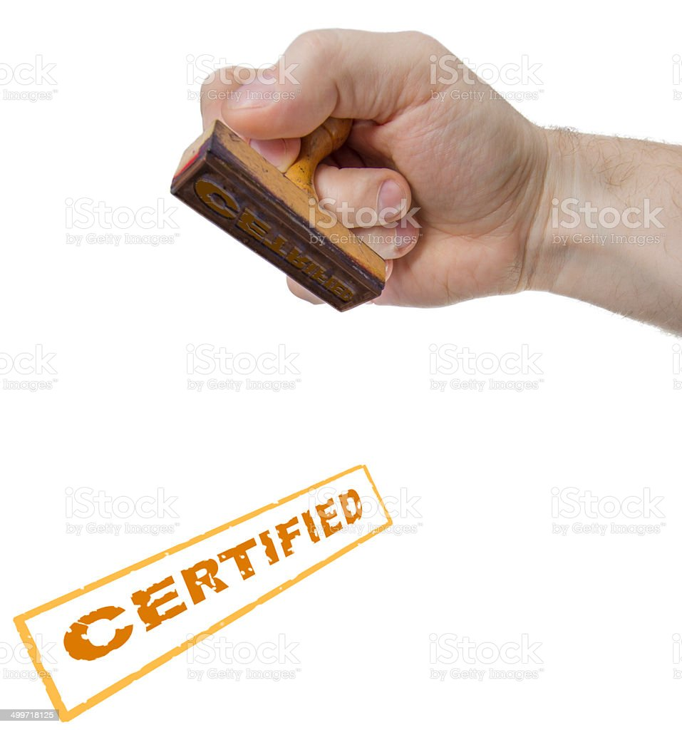Certified sign form stamp stock photo