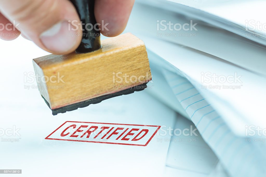 certified stamp on papers stock photo