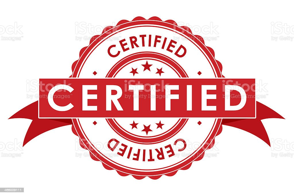 Certified Symbol With Ribbon stock photo