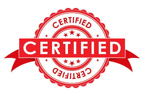 certifié symbole avec ruban - concave photos et images de collection