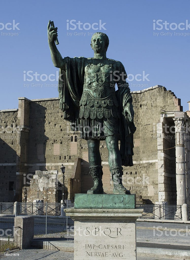 Cesaer sculpture at Roman Forum stock photo