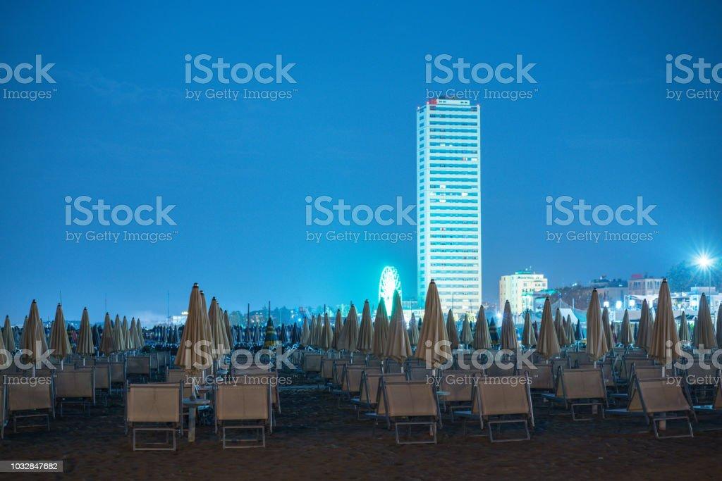 Cesenatico beach at night stock photo