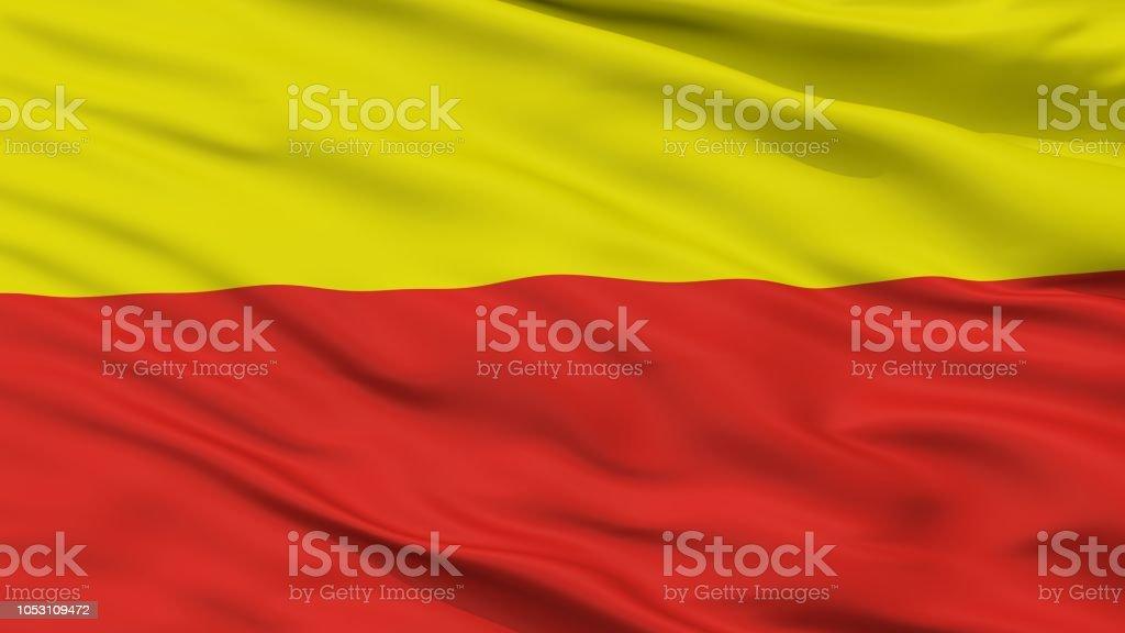 Ceske Budejovice City Flag, Czech Republic, Closeup View stock photo