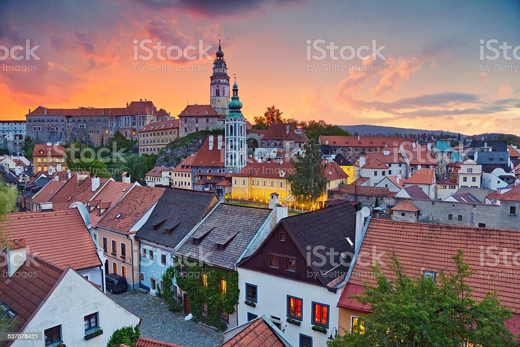 Cesky Kromlov, Czech Republic. Image of Cesky Krumlov, located in southern Czech Republic during sunset. 2015 Stock Photo