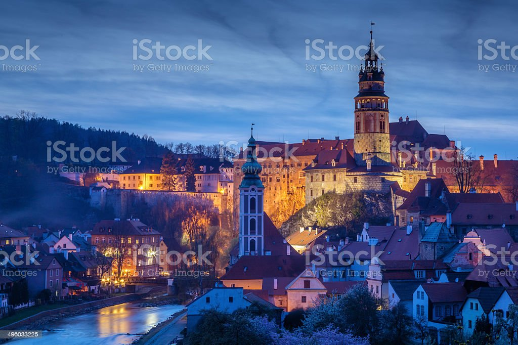 Cesky Krumlov at dusk stock photo