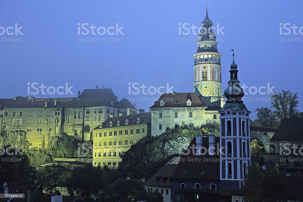 Cesky Krumlov at night stock photo