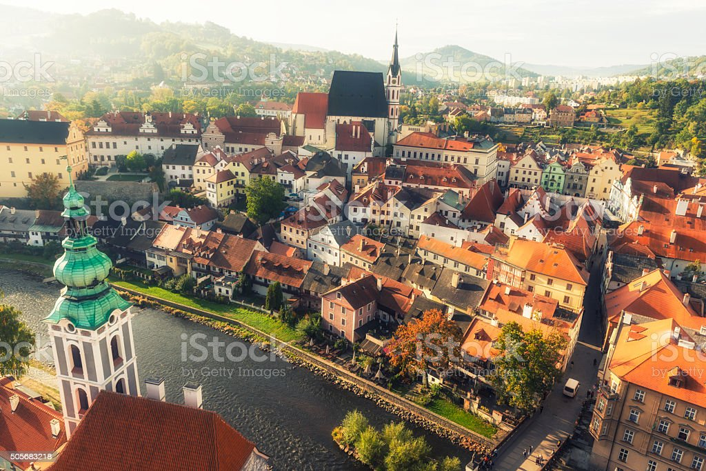 Cesky Krumlov at sunrise stock photo