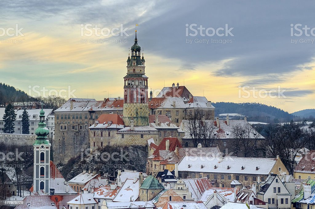 Cesky krumlov at winter, day before christmas stock photo