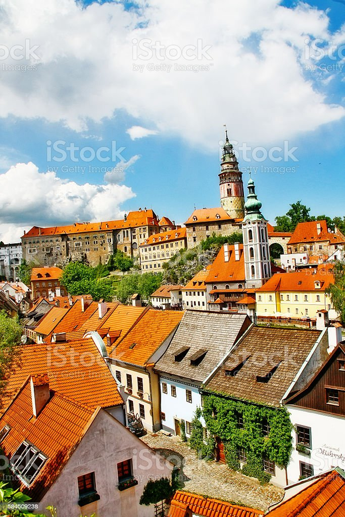 Cesky Krumlov castle and cityscape of Cesky Krumlov, Czech, Bohemia stock photo