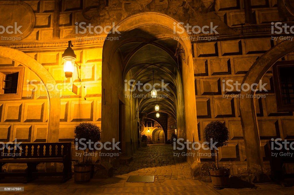 Corredor do Castelo de Cesky Krumlov - foto de acervo