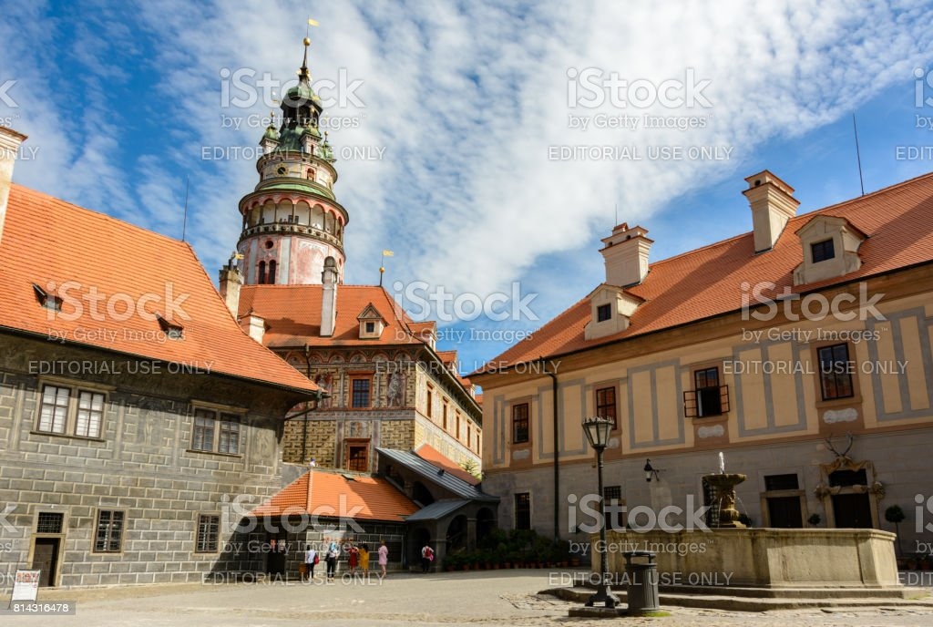 Cesky Krumlov Castle courtyard, Czech Republic stock photo