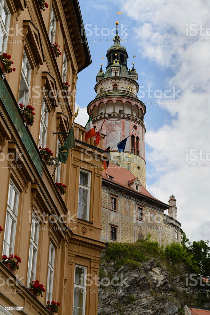 Castelo de Cesky Krumlov tower - foto de acervo