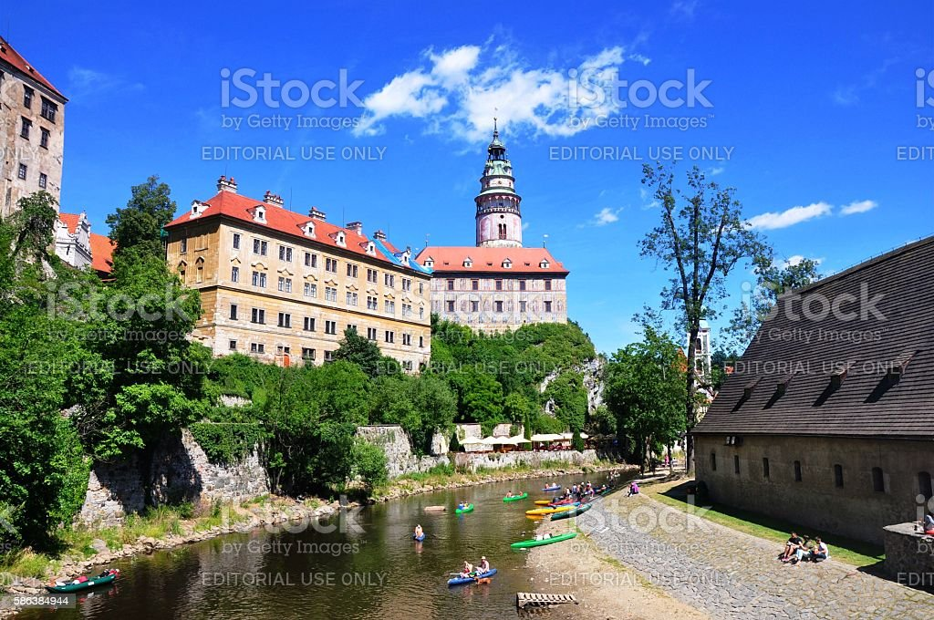 Cesky Krumlov castle with tower stock photo