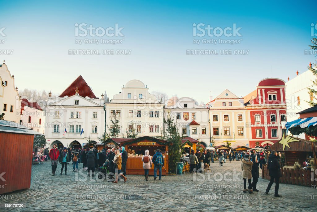 Cesky Krumlov christmas market stock photo